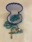 Rosary Baptism, 6mm, blue glass beads, fire polished Czech glass, shell centerpiece