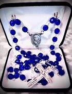 Rosary Czech fired Sapphire beads, 8mm, Glass cracked Czech Our Father beads, St. Theresa of Calcutta centerpiece, Trinity Crucifix