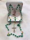 Rosary Green & Gold 6mm, clear glass beads, fire polished Czech glass, Packer charm