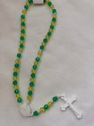 Rosary Corded, Green and Gold beads