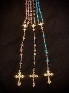 Rosary First Communion, 6mm, pink glass beads, fire polished Czech glass