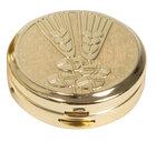 Pyx Gold plated, two tone bright & satin finish, wheat & bread design, 10 hosts