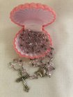 Rosary Baptism, 6mm, pink glass beads, fire polished Czech glass, shell centerpiece