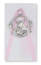 Crib Medal Guardian Angel w/Pink Ribbon