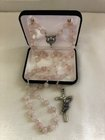 Rosary Rose Quartz glass beads, 8mm, Pewter St. Therese of Lisiuex centerpiece, Crucifix with roses