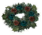 Advent Wreath -Greens/Pine Cones - Green Candle Holders